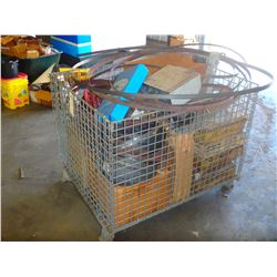 Wire Metal Tote with Misc Contents