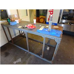 "Steel Table w/Contents - 91"" x 34"" x  41"""
