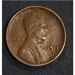 1913-S LINCOLN CENT, XF