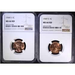 1968-S & 1969-S LINCOLN CENTS NGC
