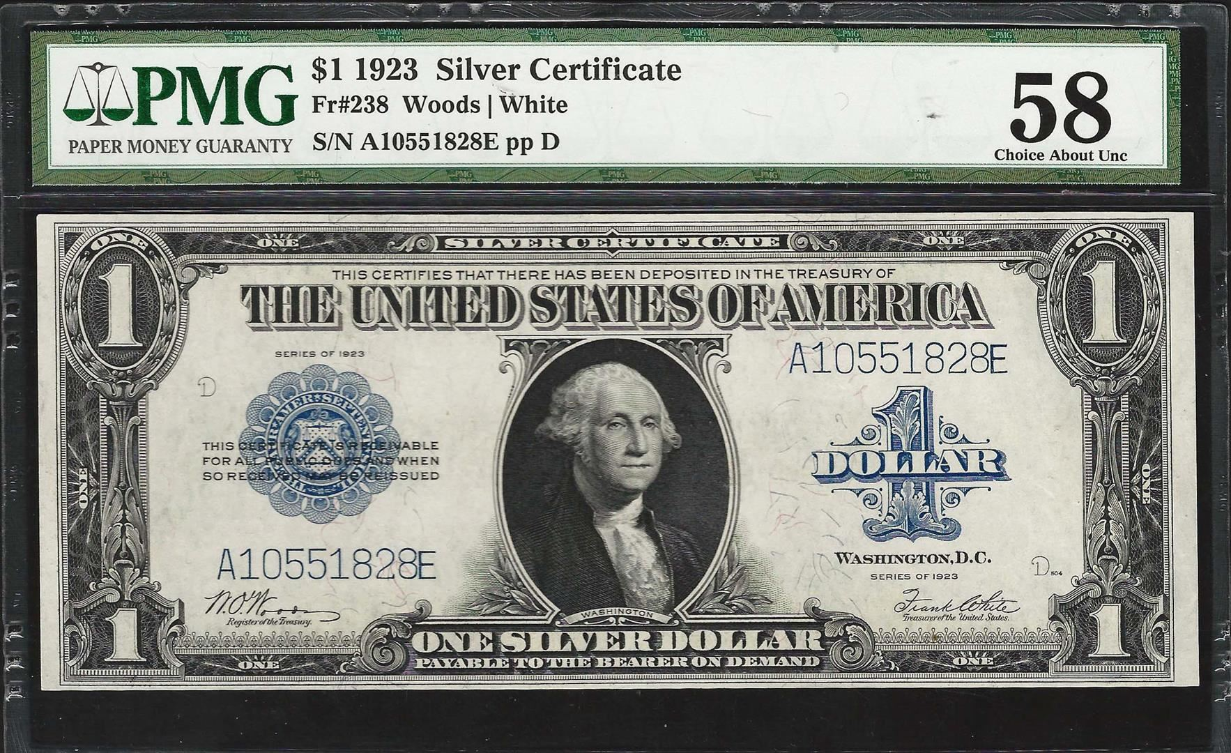 1923 1 Silver Certificate Note Fr238 Pmg Choice About Uncirculated 58