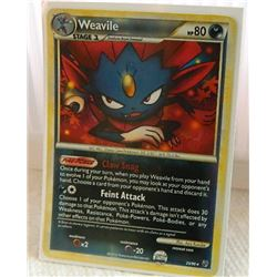 POKEMON COLLECTOR CARD IN PROTECTIVE SLEEVE - WEAVILLE STAGE 2  RARE REVERSE HOLO- 25/90