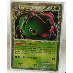 POKEMON COLLECTOR CARD IN PROTECTIVE SLEEVE - MEGANIUM STAGE 2 PROMO HOLO - HGSS08