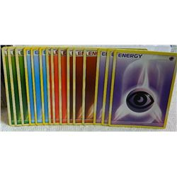 POKEMON COLLECTOR ENERGY CARDS - PSYCHIC(3) + FIGHTING(3) + FIRE(3) + WATER(3) + GRASS (3) = 15 TTL