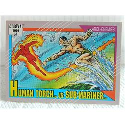 MARVEL COLLECTOR CARD IN CLEAR SLEEVE - 1991 IMPEL - NEAR MINT - #97 - HUMAN TORCH VS SUB-MARINER