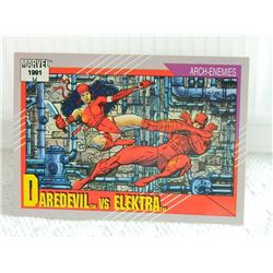 MARVEL COLLECTOR CARD IN CLEAR SLEEVE - 1991 IMPEL - NEAR MINT - #95 - DAREDEVIL VS ELEKTRA