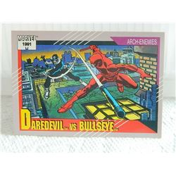 MARVEL COLLECTOR CARD IN CLEAR SLEEVE - 1991 IMPEL - NEAR MINT - #104 - DAREDEVIL VS BULLSEYE