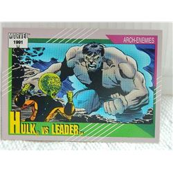 MARVEL COLLECTOR CARD IN CLEAR SLEEVE - 1991 IMPEL - NEAR MINT - #119 - HULK VS LEADER