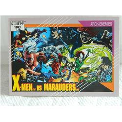 MARVEL COLLECTOR CARD IN CLEAR SLEEVE - 1991 IMPEL - NEAR MINT - #117 - X-MEN VS MARAUDERS
