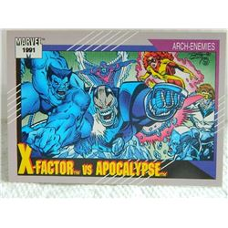 MARVEL COLLECTOR CARD IN CLEAR SLEEVE - 1991 IMPEL - NEAR MINT - #117 - X-FACTOR VS APOCALYPSE