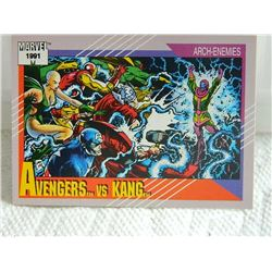 MARVEL COLLECTOR CARD IN CLEAR SLEEVE - 1991 IMPEL - NEAR MINT - #96 - AVENGERS VS KANG