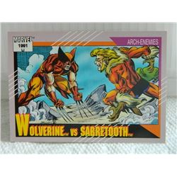 MARVEL COLLECTOR CARD IN CLEAR SLEEVE - 1991 IMPEL - NEAR MINT - #93 - WOLVERINE VS SABRETOOTH