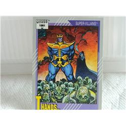 MARVEL COLLECTOR CARD IN CLEAR SLEEVE - 1991 IMPEL - NEAR MINT - #85 - THANOS