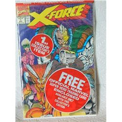 X-FORCE 1991 1ST SERIES - FOLD ON FRONT COVER - IN ORIGINAL PLASTIC BAG - FOLD ON COVER - BAG WITH B