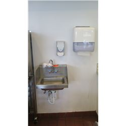 Wall-Mount Handwash Sink, Wall-Mount Soap Dispenser & Towel Dispense