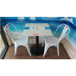 Square Table 24X24 w/Round Metal Base, 2 Retro Style White Chairs