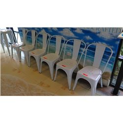 6 Retro Style White Chairs