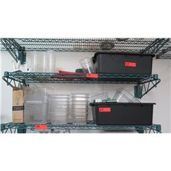 Contents of 2 Shelves: Clear Plastic Containers, Black Plastic Bins, etc.
