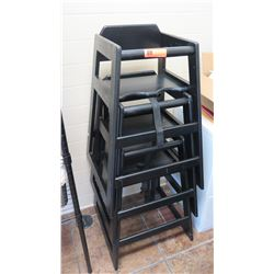 Qty 3 Black Wooden Stackable High Chairs