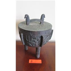"Bronze Cast Lidded Urn, Approx. 11"" H"