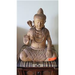 "Balinese Carved Wooden Hindu Deity w/ Cobra, 26"" H (wood split)"