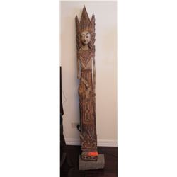 "Tall Wayang Carved Wooden Female Figure (51"" to 60"" H), Polychromed"