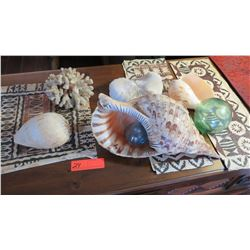 2 Small Glass Balls & Misc. Natural Seashells (Various Sizes)