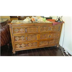 "Balinese Wooden Double Chest of Drawers w/Carved Reeded Diamond Motif 56"" x 21"" x 31"" H"