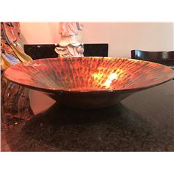 "Painted Iridescent Glass Bowl, Approx. 15.5"" Dia."