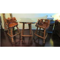 "Burl Teak Table w/Glass Top (3ft x 3ft) 39"" H & Pair of Matching Chairs"