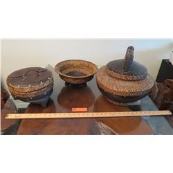 "3 Woven Spice Baskets w/Lids (largest is approx. 16"" wide)"