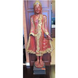 "Tall Red Lacquered Carved Wood Standing Buddha w/Mirror Glass Applique, 66"" H"