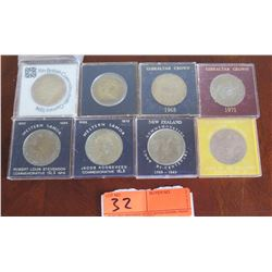 8 Commemorative Coins 1968 to 1971 (Western Samoa, New Zealand, etc.)