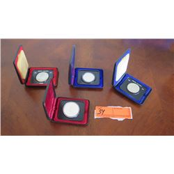 Qty 4 Commemorative Canadian Coins in Cases, Silver, British Columbia, Senate Throne, etc.
