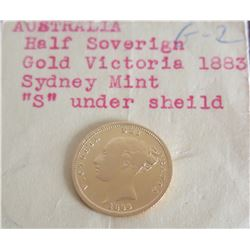 Australia 1883 Half Sovereign Gold Coin