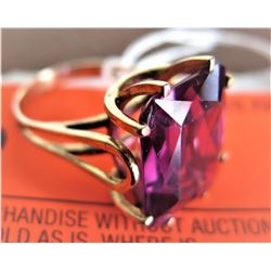 Emerad Cut Synthetic Amethyst 9 ct (16.5 x 13.3 x 6.5mm), Unmarked Yellow Gold, Tested 10K (nicks an
