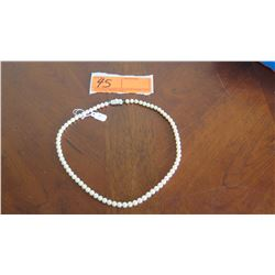 "Mikimoto 5.5mm Cultured Pearl Necklace, 75 Pearls, 17"" L, Silver Clasp w/ 4mm pearl"