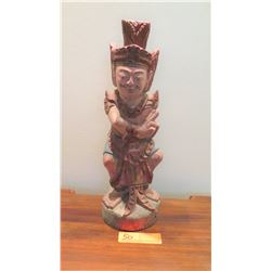 """Painted Carved Wooden Hindu Deity, Approx. 16"""" H"""