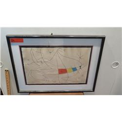 """Framed & Matted Joan Miro Glazed Color Print, 19.25"""" x 13.25"""" Paper, Hand-Signed HC on Lower Right"""