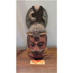 """Painted Carved Wooden Hindu Deity w/ Cobra, Approx. 16"""" H (has wall-mount fitting)"""