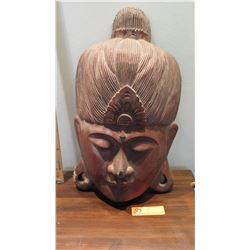 """Carved Wooden Deity Head, Approx. 20"""" H, 12"""" W, Concave/Wall-Mountable (some damage)"""