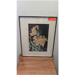 """Framed Watercolor Lillies, Aged Condition 16.5"""" x 21"""""""