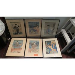 """6 Framed Japanese Wood Block Prints 15.5"""" x 20.5"""" (some staining and age wear)"""