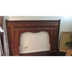 """Balinese Painted Carved Wooden Headboard w/ Vine & Floral Motifs 7'4"""" W x 59"""" H"""