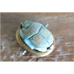 """Tiny Carved Scarab Beetle w/Gold Band and Underside Marking, 9/16"""", w/Certificate of Authenticity"""