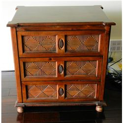 "Balinese Wooden Chest of Drawers w/Carved Reeded Diamond Motif, 30""WX21""X31""H has some damage on top"