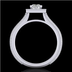 1.41 CTW Princess VS/SI Diamond Solitaire Micro Pave Ring 18K White Gold - REF-200T2M - 37178
