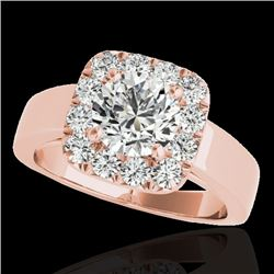 1.55 CTW H-SI/I Certified Diamond Solitaire Halo Ring 10K Rose Gold - REF-174A5X - 34239