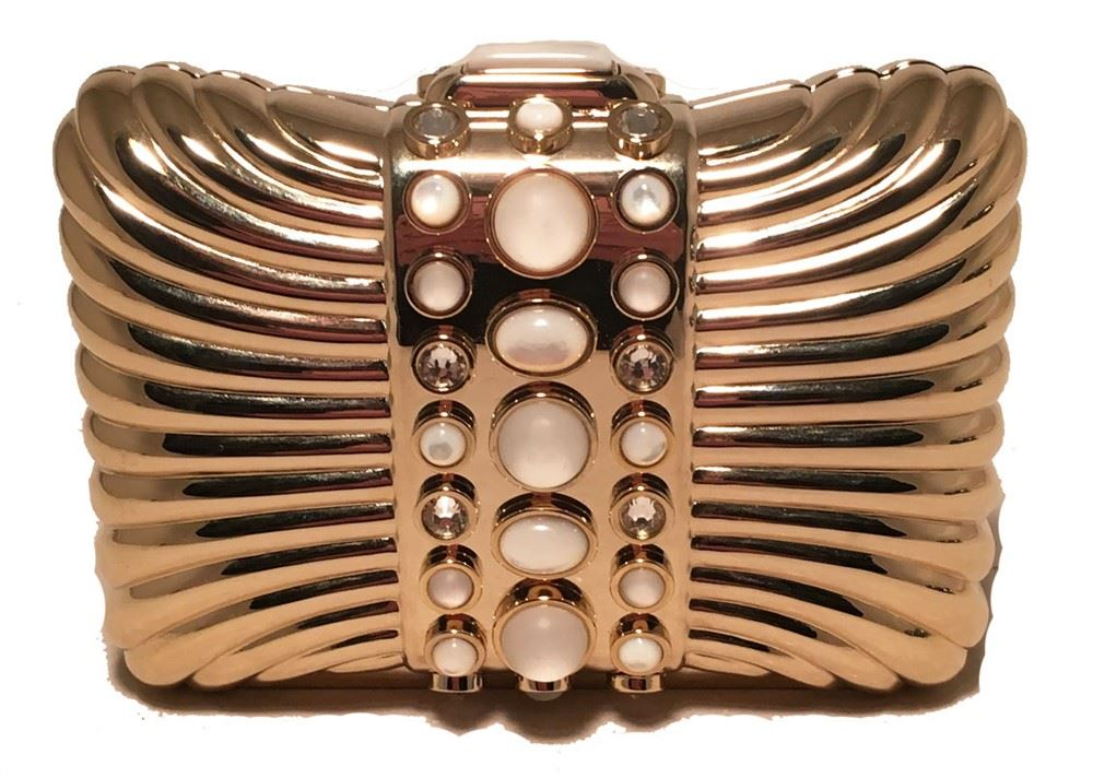 Judith Leiber Vintage Gold Box Clutch With Pearl Details ZMOTLM5kt2