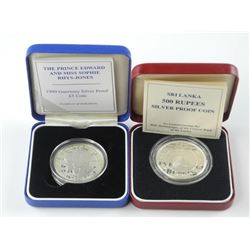 2x Proof Silver Coins: 5 Pounds and 500 Rupees